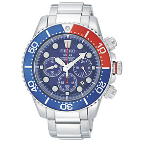 Seiko men's stainless steel blue dial chronograph watch - Product number 9308377