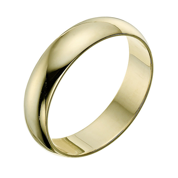 9ct yellow gold extra heavy D-shape 6mm ring - Product number 9310851