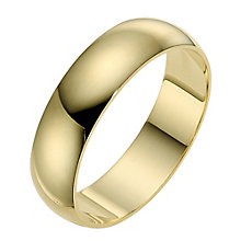 18ct yellow gold extra heavy D-shape 7mm ring - Product number 9319034