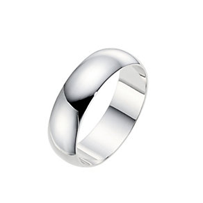 18ct white gold extra heavy D-shape 8mm ring - Product number 9321500