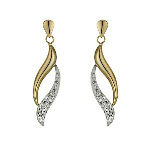 Silver & 9ct Yellow Gold Crystal Flame Earrings - Product number 9321977