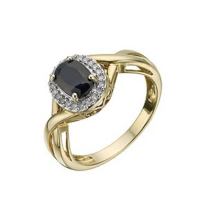 9ct Gold Diamond and Sapphire Cluster Ring - Product number 9324402