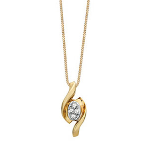 9ct Gold Diamond Swirl Pendant - Product number 9324577