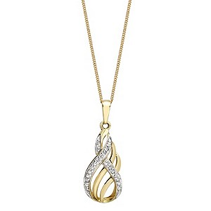 9ct Gold Two Colour Diamond Set Figure of 8 Pendant - Product number 9324585