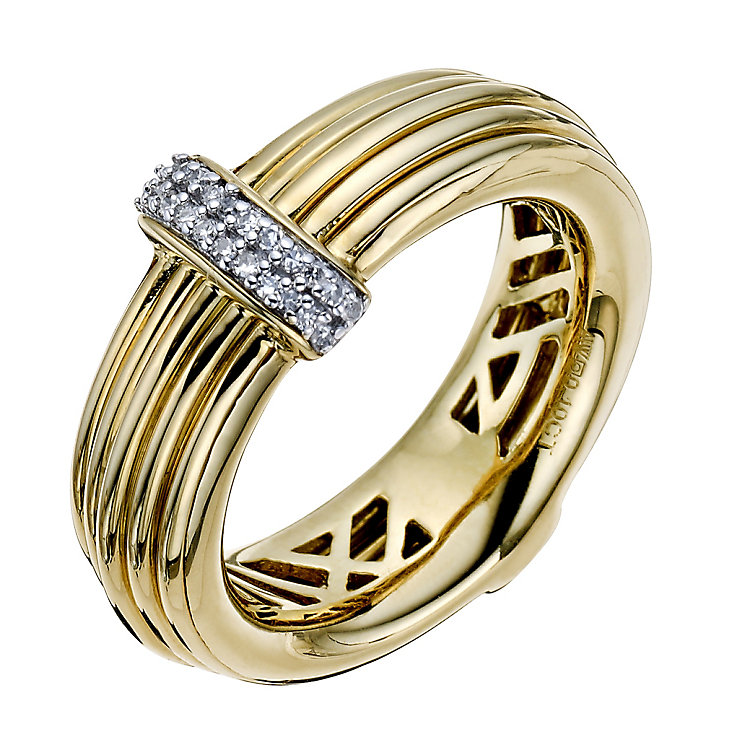 Silver & Gold-Plated Wire & Diamond Ring - Product number 9327215