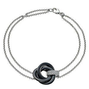 Amanda Wakeley silver diamond & black ceramic knot bracelet - Product number 9327762