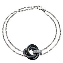 Silver Diamond & Black Ceramic Knot Bracelet - Product number 9327762