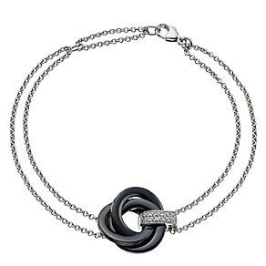 Silver Diamond & Black Ceramic Knot Bracelet - Product number 9327762