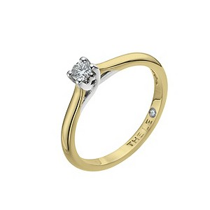 Leo 18ct yellow & white gold 0.15pt I-SI2 diamond ring - Product number 9328424