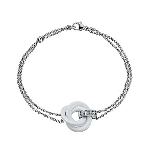 Amanda Wakeley silver diamond & white ceramic knot bracelet - Product number 9330682