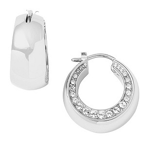 DKNY Ladies' Stainless Steel Stone Set Hoop Earrings - Product number 9332820