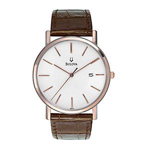 Bulova Men's Brown Leather Rose Gold Bracelet Watch - Product number 9332979