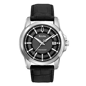 Bulova Men's Black Leather Strap Watch - Product number 9333045