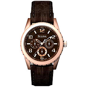 Bulova Men's Brown Strap Watch - Product number 9333096