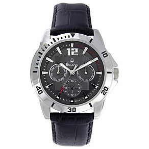 Bulova Men's Black Leather Strap Watch - Product number 9333118