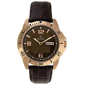 Bulova Men's Brown Leather Strap Watch - Product number 9333126