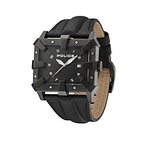 Police Defender Black Leather Strap Watch - Product number 9335722
