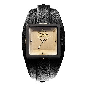 Vivienne Westwood ladies' black cuff & gold dial watch - Product number 9336141