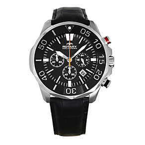 Rotary Aquaspeed Men's Black Leather Chronograph Watch - Product number 9336389