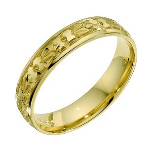 18ct yellow gold hand engraved 4mm wedding ring - Product number 9337539