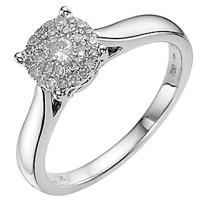 18ct white gold 0.50ct diamond cluster ring - Product number 9337873