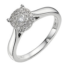 18ct white gold 0.25ct diamond cluster ring - Product number 9338012