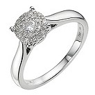 18ct white gold 1/4 carat diamond cluster ring - Product number 9338012