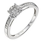 9ct white gold 1/4 carat diamond cluster ring - Product number 9338284