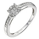 9ct white gold 1/2 carat diamond cluster ring - Product number 9338411