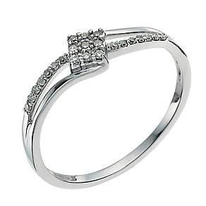 9ct white gold diamond crossover ring - Product number 9339353