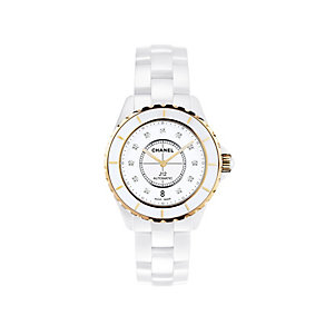 Chanel J12 white ceramic and 18ct rose gold bracelet watch - Product number 9339701