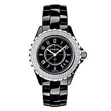 Chanel J12 black ceramic diamond set bracelet watch - Product number 9339744