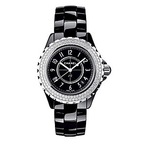 Chanel J12 black ceramic diamond set bracelet watch - Product number 9339744