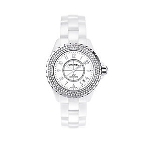Chanel J12 white ceramic diamond set bracelet watch - Product number 9339752