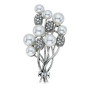 Crystal and Pearl Effect Brooch - Product number 9341358