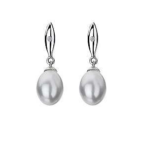 Hot Diamonds Silver Diamond & Pearl Drop Earrings - Product number 9346023