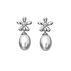 Hot Diamonds Silver Flower Diamond & Pearl Earrings - Product number 9346031