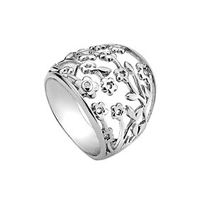Hot Diamonds Silver & Diamond Flower Ring Size P - Product number 9346376