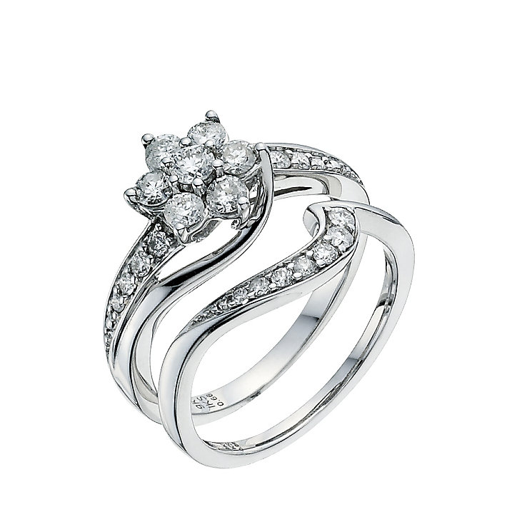 Perfect Fit 9ct White Gold 3/4 Carat Diamond Bridal Set - Product number 9351396