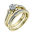 18ct Yellow Gold 1/2 Carat Diamond Flower Cluster Bridal Set - Product number 9351574