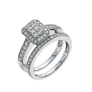 Perfect Fit 9ct White Gold 3/4 Carat Diamond Bridal Set - Product number 9351701