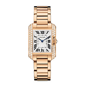 Cartier Tank Anglaise ladies' 18ct rose gold bracelet watch - Product number 9362290