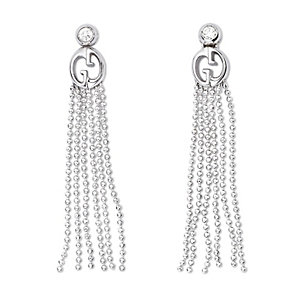 Gucci ladies' 18 carat white gold diamond tassel earrings - Product number 9367322