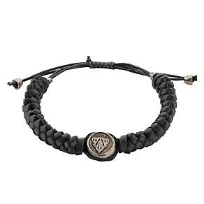 Gucci black cord stainless steel crest bracelet - adjustable - Product number 9367489