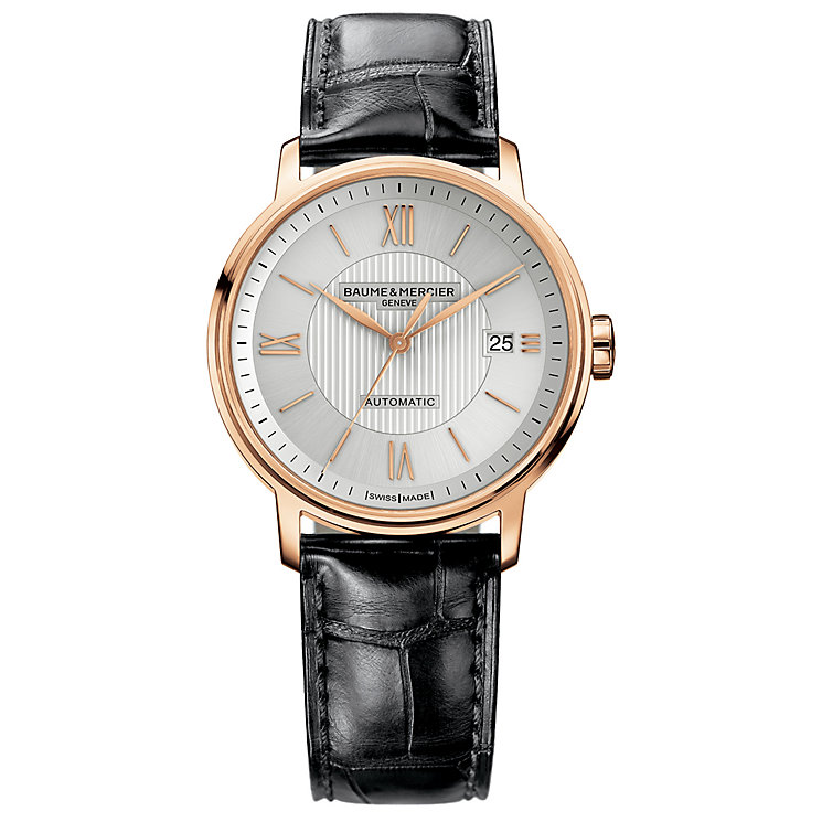 Baume & Mercier Geneve men's 18ct rose gold strap watch