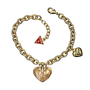 Guess Yellow Gold Plated Heart Charm Bracelet - Product number 9383190