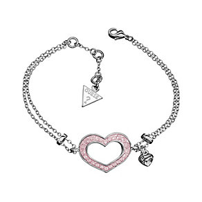 Guess Double Chain Pink Crystal Heart Bracelet - Product number 9383220