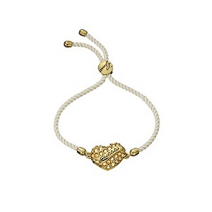 Guess Adjustable Cream & Gold Stone Set Heart Bracelet - Product number 9383565