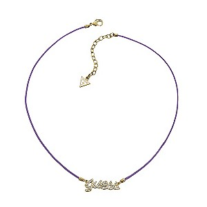 Guess Pave Set Crystal Logo Friendship Purple Cord Necklace - Product number 9384332