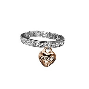 Guess Stone Set Rose Gold Plated Heart Charm Ring - Product number 9384502